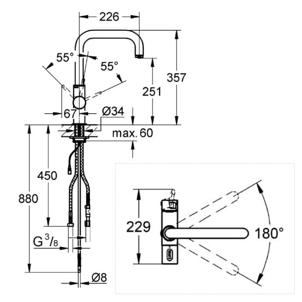 designer drei wege wasserhahn grohe u auslauf supersteel vitalbrunnen. Black Bedroom Furniture Sets. Home Design Ideas